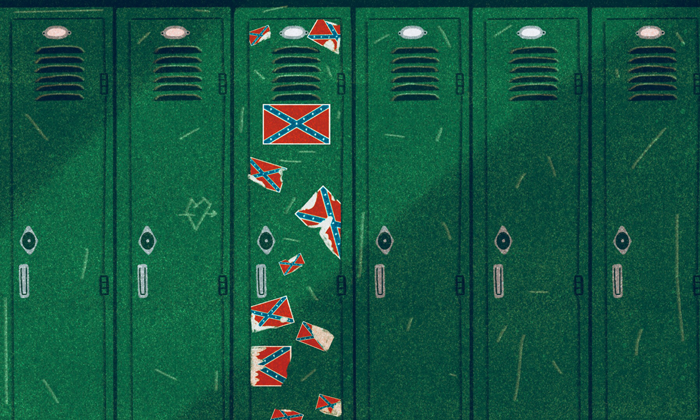 Confederate flag stickers on a locker in the school hallway