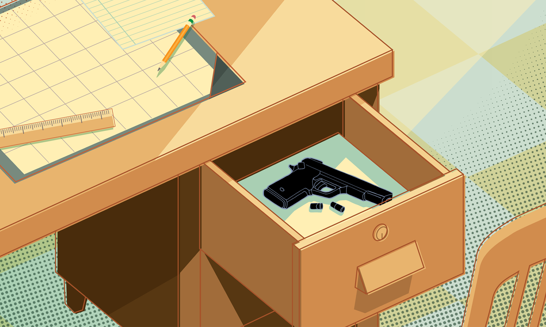 Illustration of a gun inside of a desk drawer.