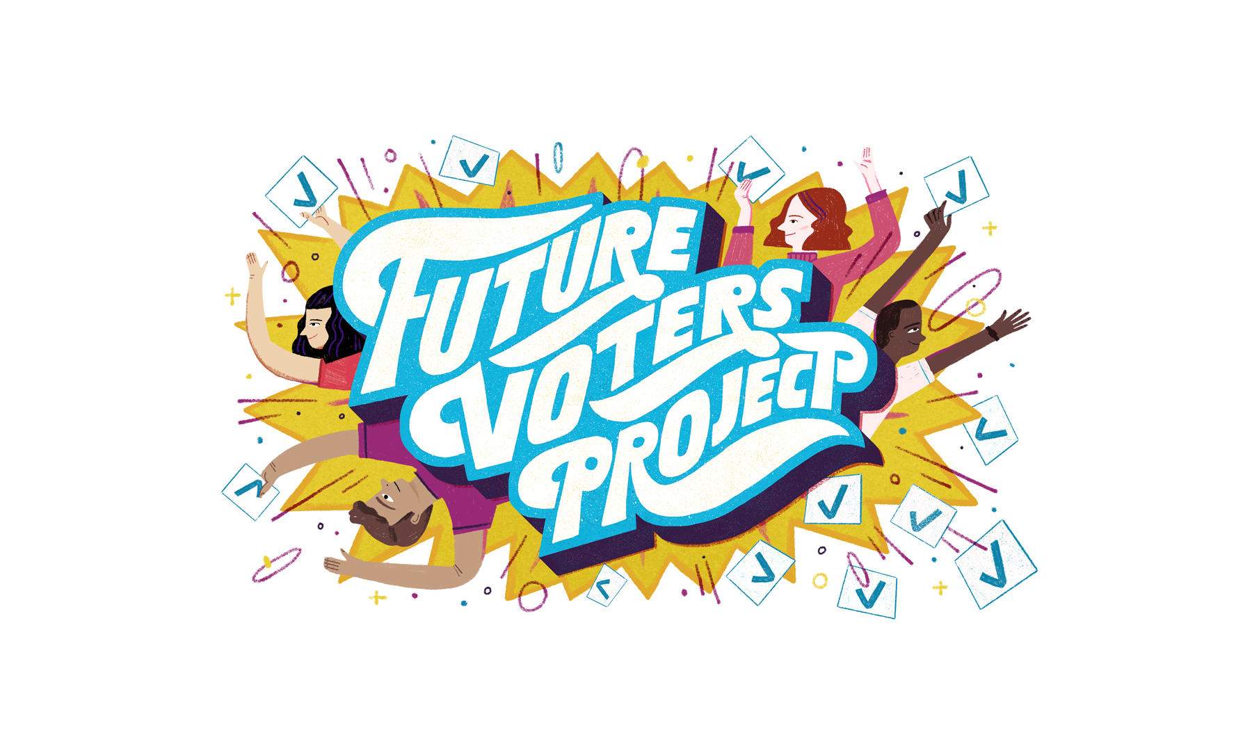 "Illustration of the title ""Future Voters Project"" surrounded by stylized people holding checkmarks."
