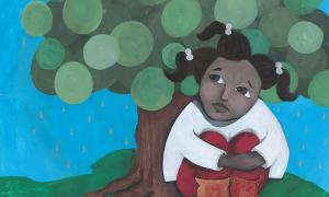 Teaching Tolerance illustration with a young girl sitting under a tree holding her knees