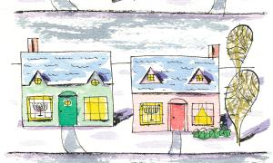 Teaching Tolerance illustration with two houses with menorahs at the window