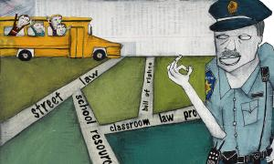 Teaching Tolerance illustration of a cop watching a bus with students
