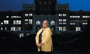 Minnie Jean Brown in front of the Central High in Little Rock, Ark.