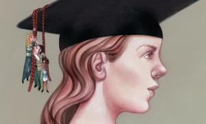 Illustration of students hanging onto the tassel of another students graduation cap