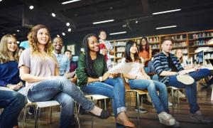 Students listen to a lecture