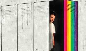 Illustration of an LGBT student hiding in a locker