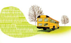 Illustration of a bus on a road of binary code