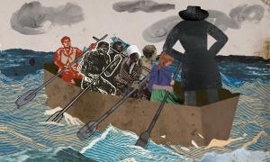 Illustration of humans being trafficked by boat