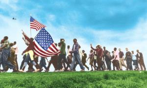 Illustration of a civil rights march across grass
