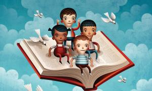 children riding a flying book