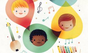 Teaching Tolerance illustration of multicultural children faces inside colorful drops surrounded by instruments and music