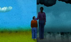 Teaching Tolerance illustration a child standing under nice weather beside an adult standing under dark weather
