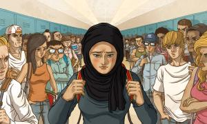 Illustration of Extreme Prejudice Muslim student faces stares and bullying