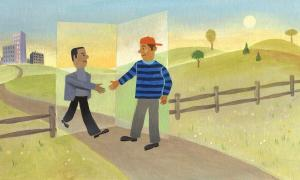 Illustration of boy being welcomed as he walks through a fence