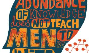 Teaching Tolerance illustration with the sentence 'An abundance of knowledge does not teach men to be wise' - Heraclitus