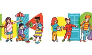 Colorful illustration of kids doing various good deeds