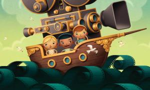 Cartoon children ride in a boat - Reel Life 101 illustration
