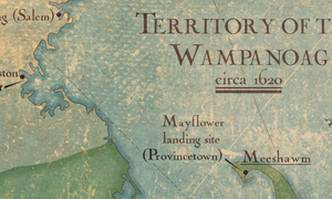map showing the territory of the Wampanoag