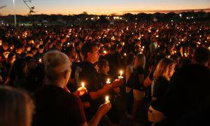 Candlelight memorial service for the victims of the shooting at Marjory Stoneman Douglas High School in Parkland, FL