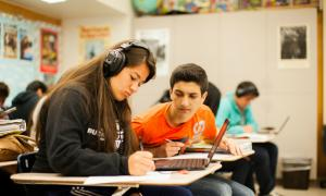 Students with interview equipment in classroom | TT Grants in Action: Diverse Perspectives