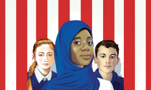 Three kids in front of the U.S. flag.
