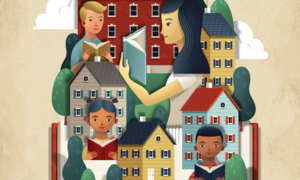 Illustration of several people reading books, superimposed over various houses and top of a large book.