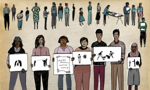 Illustration of various people holding different protest signs.