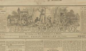 Partial view of The Liberator newspaper.