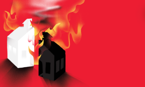 Illustration of a schoolhouse split in two pieces, one black and one white, and both pieces are on fire.