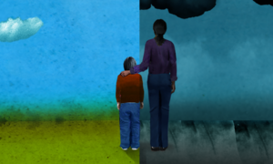 Taller figure with their hand on the shoulder of a smaller person standing next to them. The background is split between a brighter sky and a stormy dark sky.