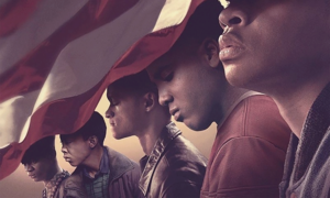 Cover image of the Netflix limited series 'When They See Us,' featuring five young men of color who are partially covered by the American flag.