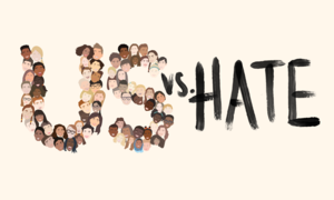 "Illustration of ""US vs. Hate"" where the ""US"" is comprised of a diverse set of students' faces."