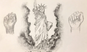 "Drawing of the Statue of Liberty flanked on either side by raised fists in black and white. ""USvsHate"" is written near the bottom."