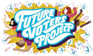 "Illustration of the title ""Future Voters Project"" surrounded by stylized people holding up check marks."