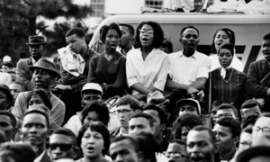 Photograph of protesters in Selma, Alabama in the 1960s.