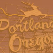 Portland, Oregon sign with stylized deer.