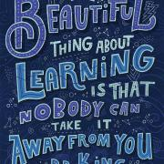 "An illustration that depicts B.B. King's quote ""The beautiful thing about learning is that nobody can take it away from you."""
