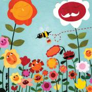 "An illustration of ""smiling"" flowers and bugs."