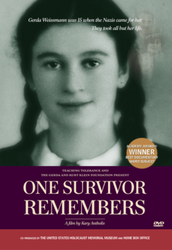 Cover for the film 'One Survivor Remembers,' a film focused on Gerda Weissmann, a holocaust survivor.