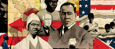 Abolitionists William Still, Sojourner Truth, William Loyd Garrison, unidentified male and female slaves, and Black Union soldiers in front of American flag