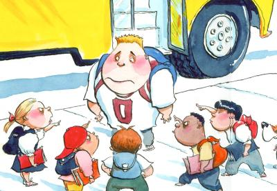 Teaching Tolerance illustration of students pointing angry to the big kid at the school bus door