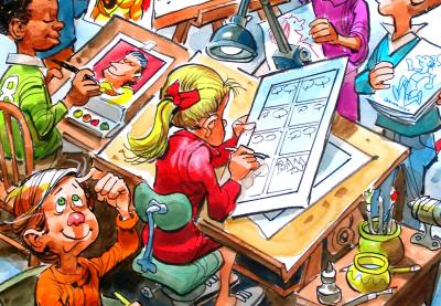 Teaching Tolerance illustration with Students drawing comic books