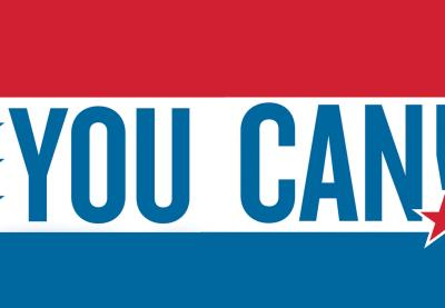 Red, White and Blue Flag with the words 'You Can!'