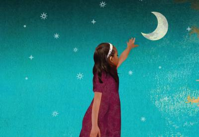 Illustration of a young girl or woman reaching for the moon