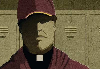 Teaching Tolerance illustration of Coach with clerical collar inside a locker room