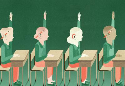 Illustration of four students at their desks raising their hands
