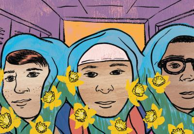 Illustration of three students wearing traditional Muslim headwear