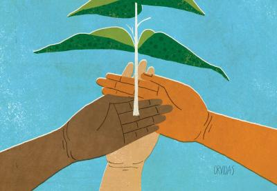 An illustration of three hands, all different colors, holding up a plant