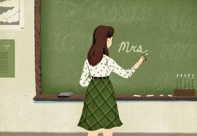 Illustration of a teacher writing on chalkboard with her back turned to class