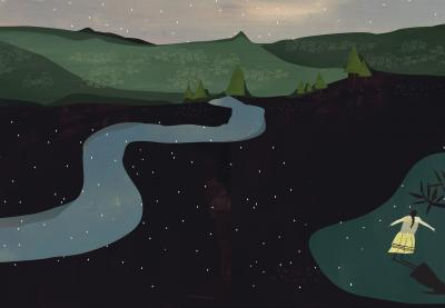 Illustration of a river running through untouched American landscape